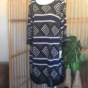 NEW! Dress Plus By JBS 1X NWT Faux Leather Trim
